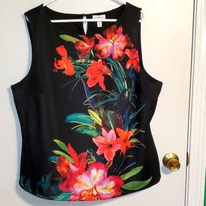 Bisou Bisou women's 2X  Black with red floral tank